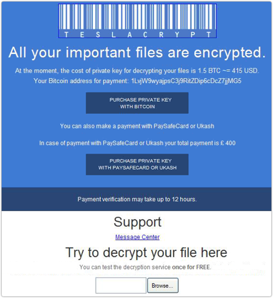 Decrypt Teslacrypt and Remove Teslacrypt Ransomware [Update]