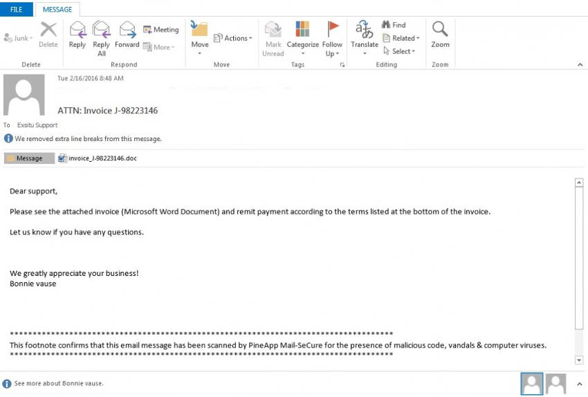 locky ransomware email message